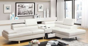 Kemina Contemporary Sectional w/Speaker Console - White or Black