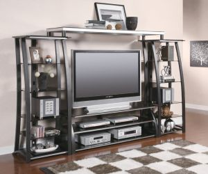 Entertainment Center With Metal & Tempered Glass