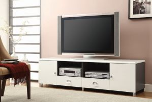 2-Drawer TV Console White - Grey