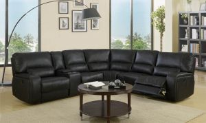 Lucia Leather-Aire Power Motion Sectional - Black or Grey