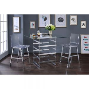 Nadie 5 Pc Dining Collection - Clear Glass & Chrome