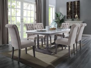 Yabeina Dining Table - Marble Top & Gray Oak Finish