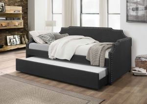 Daybed w/Trundle & Nailhead Accents - Dark Grey or Beige