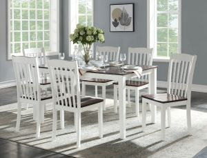 Green Leigh Dining Collection - White & Walnut