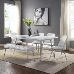 Weizor Dining Collection - White High Gloss & Chrome