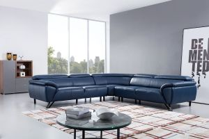 Italian Top Grain Leather Sectional - Navy or Light Gray