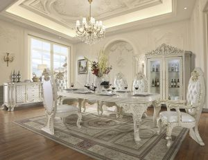 Lea 9 Pc Dining Collection - White Gloss & Leather