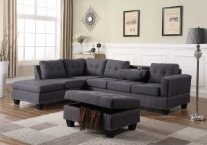 Nero Reversible Sectional + Storage Ottoman Woven Fabric