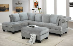 Derby Reversible Sectional + Storage Ottoman - Grey or Navy