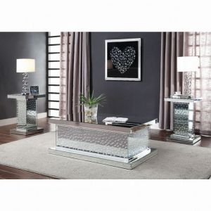 Nysa Glam Occasional Tables - Mirrored & Faux Crystals