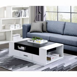 Armour Coffee Table Scandinavian Veneer - White & Black