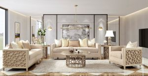 Magnus 3 Pc Living Room Sofa Collection - Champagne Finish