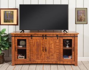 Omaha Rustic Entertainment Console - Honey Tobacco Barn Doors