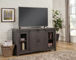 Sierra Rustic Entertainment Console - Grey Barn Doors