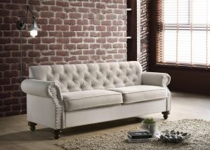 Jurupa Sofa Collection Nailhead Trim - Beige or Grey