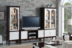 Mathias Entertainment Center - White & Walnut Finish
