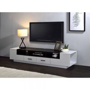 Armour Modern TV Stand - White & Black Gloss Finish