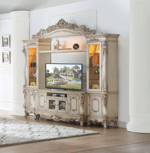 Gorsedd Entertainment Center - Antique Champagne Finish