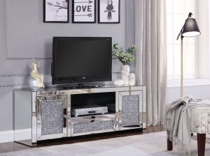 Noralie Glam TV Stand - Faux Diamond Inlay