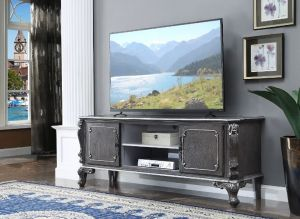 TV Stand Charcoal Finish Silver Trim