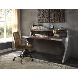 Brancaster Desk Industrial Style - Top Grain Leather