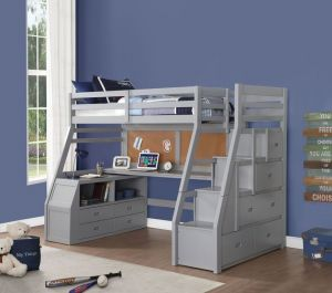 Jason II Loft Bed + Storage Ladder - Gray Finish