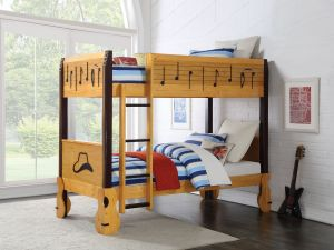 Petrus Twin Twin Bunk Bed - Homey Oak Finish