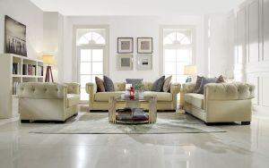 Eulalia Sofa Collection - Cream Polished Velvet