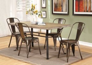 Dervon Dining Collection - Light Oak/Gray Metal