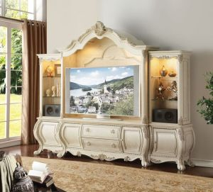 Ragenardus Entertainment Center - Antique White Finish