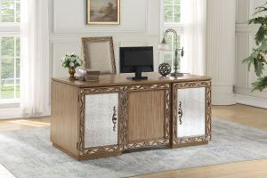 Orianne Executive Desk - Champagne/Antique Gold