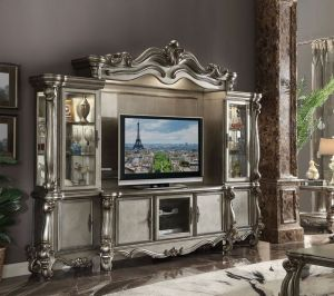 Versailles Entertainment Center - Antique Platinum Finish