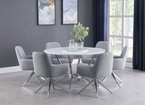 Abby Ultra Modern 5 Pc Dining Collection - White & Light Grey