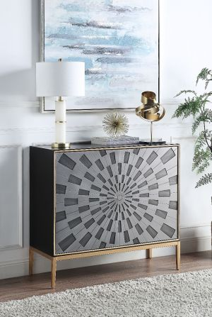 Quilla Accent Table - Black Grey Brass