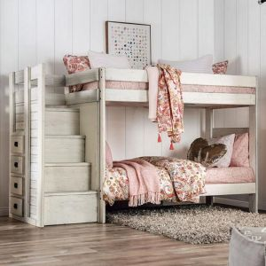Ampelios Twin Twin Bunk Bed - White or Black Finish
