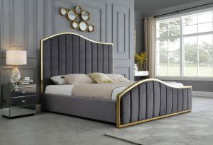 Tustin Platform Bed - Gold Accents - Gray or Beige
