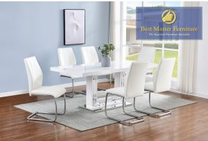 Tameca White Modern Dining Collection - 3 Color Chair Choices