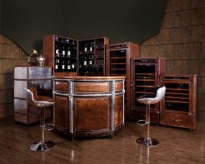 Galahad Bar Set - Aluminum + Leather