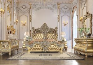 Seville Gold Finish Bedroom Collection - Intricately Carved