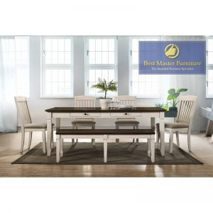 Belle 6 Pc Transitional Dining Collection - Cream Finish