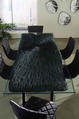 Chainsaw Dining Table - Glass  & Chamcha Wood