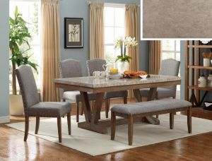 Vespa 6 Pc Dining Collection - Marble Dining Table