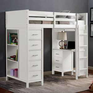 Cassidy Twin Loft Bed w/8 Drawers - White Finish