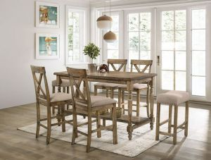 Plankinton 7 Pc Dining Collection - Rustic Oak Finish