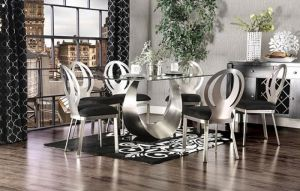 Orla Contemporary Dining Collection - Beveled Glass Top