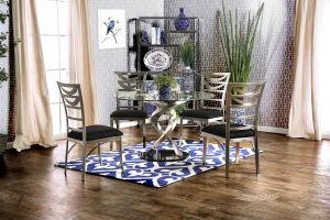 Roxo Contemporary Dining Collection - Stainless Steel & Glass