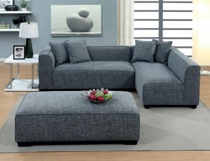 Jaylene Contemporary Sectional - Padded Linen-Like Fabric