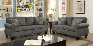 Rhian Sofa Collection - Dark Gray Linen-Like Fabric