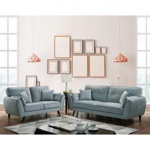 Phillipa Mid-Century Sofa Collection - Light Teal Fabric