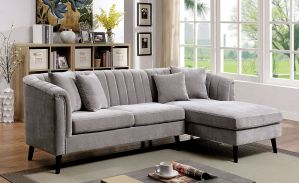 Goodwick Mid-Century Modern Sectional - Light Grey Chenille